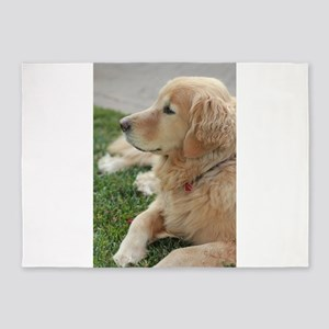Nala golden retriever deep on thoug 5'x7'Area Rug